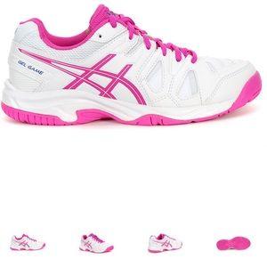 NWOT ASICS Gel Game 5 Glo Girls tennis shoes szY5